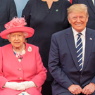 Donald Trump smiles as he poses with the Queen earlier this week