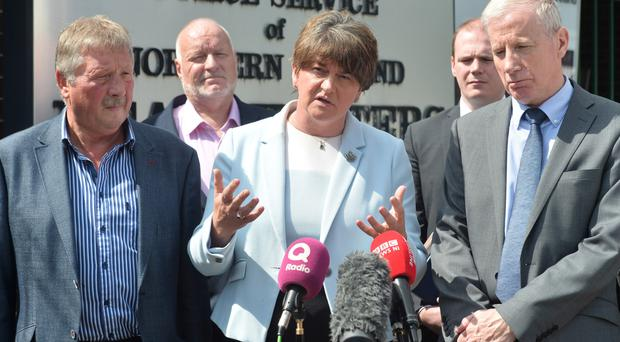 DUP leader Arlene Foster speaks to the media after meeting with the PSNI last week