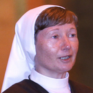 Sister Martina giving an address in St Anne's Cathedral in 2016