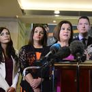 Sinn Fein representatives including, second from left, Foyle MLA Elisha McCallion