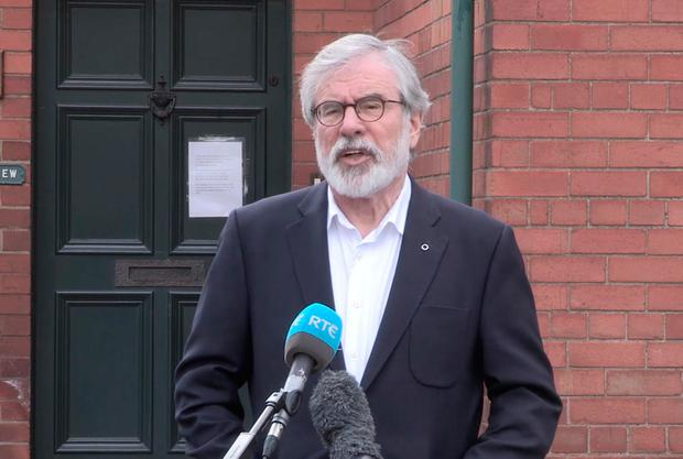 Gerry Adams speaking in Belfast after his convictions were quashed by UK judges