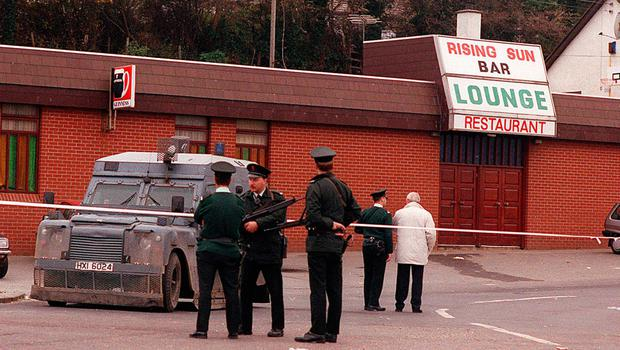 Police at the scene of the Greysteel massacre in 1993