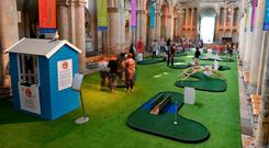 Crazy golf in Rochester Cathedral