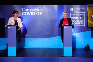First Minister Arlene Foster and Deputy First Minister Michelle O'Neill during a coronavirus media briefing at Stormont
