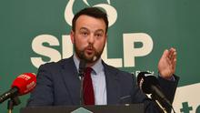 SDLP leader Colum Eastwood at the announcement of his party's manifesto for the general election