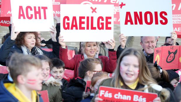 Irish Language Act supporters at Stormont