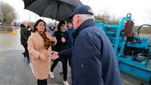 Sinn Fein Leader Mary Lou McDonald meets local residents looks at flood prevention measures in the Mill Bank area of Athlon