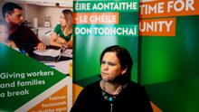 Sinn Fein leader Mary Lou McDonald at her party's headquarters in Dublin