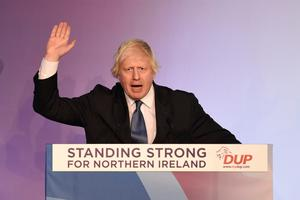 Boris Johnson at the DUP conference in 2018