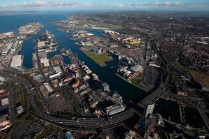 An aerial view of Belfast Port