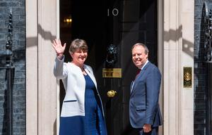 Arlene Foster and Nigel Dodds outside Downing Street yesterday