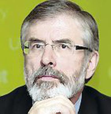 Sinn Fein President ,Gerry Adams,MP,MLA at  the news conference for Pearse Doherty,the newly elected Sinn Fein deputy for Donegal South-West  on his first day as a Daill deputy  yesterday.Pic Tom Burke 30/11/10