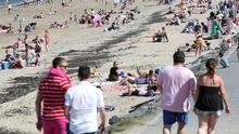 The busy beach at Crawfordsburn on Sunday