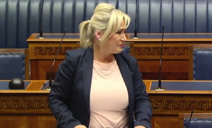 Michelle O'Neill shows emotion in the chamber