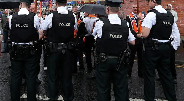 PSNI officers on duty in north Belfast