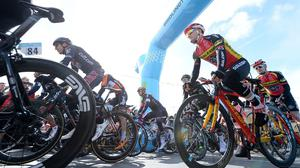Riders set off from the start line in Bridlington for the first stage of the Tour de Yorkshire