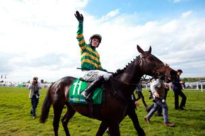 Farewell: AP McCoy on his final mount, Box Office, at Sandown in 2015