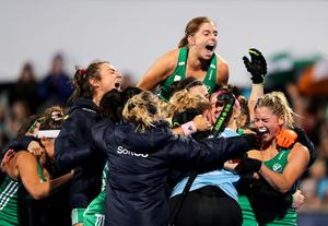 Katie Mullan and the Irish hockey girls celebrate sealing their place at the Olympics in the qualifying play-offs last year.
