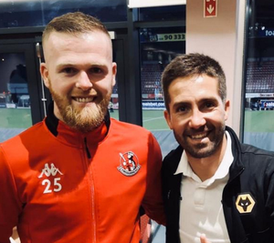 With Wolves ace Joao Moutinho after their memorable Europa League clash at Seaview