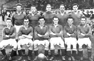Linfield of the 1930's: back row (from left to right): Walter McMillen, Walter Brown, Willie Black, Billy McCleary and Tommy Frame. Front row (from left to right): Billy Houston, Harry McCracken, Tom Sloan, Joe Bambrick, Artie Sayers, Harold McCaw