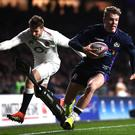Going over: Darcy Graham scores against England last season