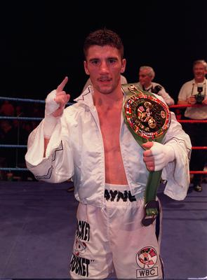 Celebrating his WBC bantamweight title defence against Johnny Bredahl in Belfast's King's Hall