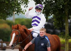 Jockey Shane Kelly aboard Red Kelly after winning the Ulster Derby
