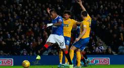 Take that: Alfredo Morelos fires home for Rangers