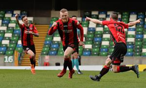 Ross Clarke celebrates scoring for Crusaders in last year's Irish Cup final