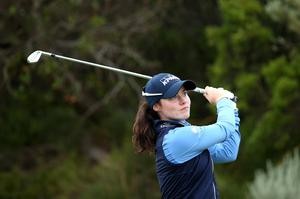 On hold: Leona Maguire at the ISPS Handa Vic Open at Beach Golf Club in Geelong, Australia earlier this year