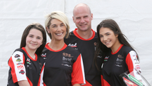 Family man: Ryan Farquhar with wife Karen and daughters Mya and Keeley