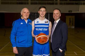 Family affair: CJ Fulton with grandfather Danny and dad Adrian celebrate Belfast Star winning the All-Ireland Superleague