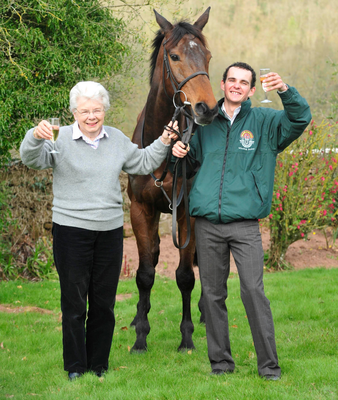 Special feeling: Grand National winner Mon Mome with Liam Treadwell and owner Vida Bingham at Venitia Williams Stableswhere