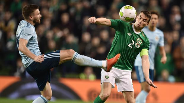 Final aim: Stuart Dallas of Northern Ireland and the Republic's Seamus Coleman could be in line for a Windsor Park showdown