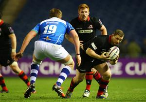 Full charge: John Andress on the attack for Edinburgh in the 2015 European Challenge Cup semifinal against the Dragons
