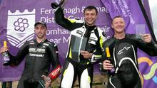 Lasting memory: Forest Dunn celebrates winning the Richard Britton Memorial feature Superbike race at the 2019 Enniskillen Road Races with runner up Thomas Maxwell and third placed Kevin Fitzpatrick