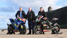 Done deal: NW200 event director Mervyn Whyte MBE alongside fonaCAB's William McCausland (left) and Gary Nicholl, managing director of Nicholl Oils