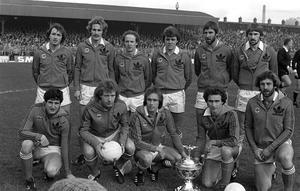 History boys: Northern Ireland's 1980 British champions, back, from left, Tommy Cassidy, Billy Hamilton, Noel Brotherston, Mal Donaghy, Chris Nicholl, John McClelland. Front, from left, Jim Platt, Jimmy Nicholl, Sammy McIlroy, Martin O'Neill and Gerry Armstrong