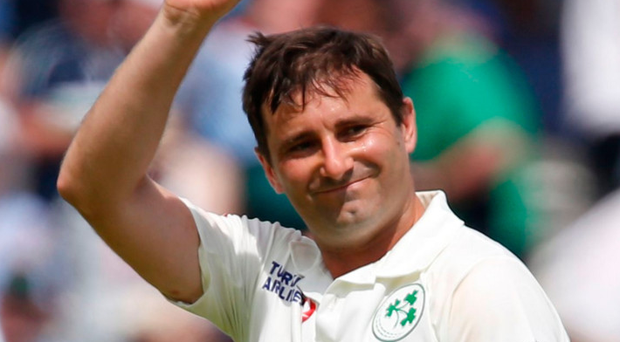 Lording it: Tim Murtagh with the match ball after taking five wickets on the first morning of Ireland's historic Test match against England at Lord's