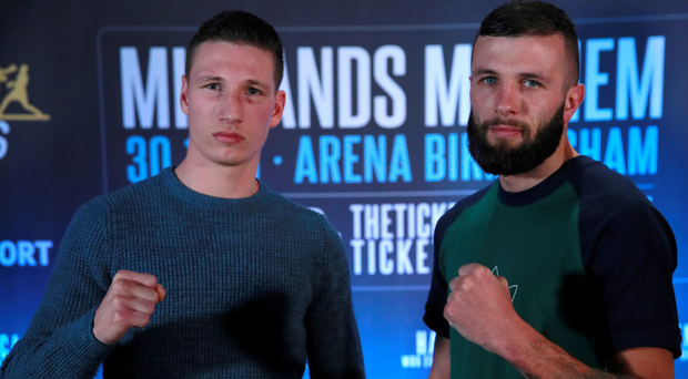 Squaring off: Sam Bowen (left) and Anthony Cacace at yesterday's press conference
