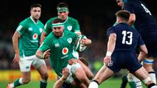 Front foot: Rob Herring on the attack for Ireland