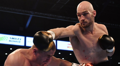 Right direction: Steven Ward during his clash with Michal Ciach