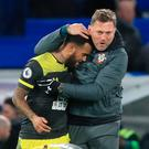 Big win: Saints' boss Ralph Hasenhuttl with Ryan Bertrand