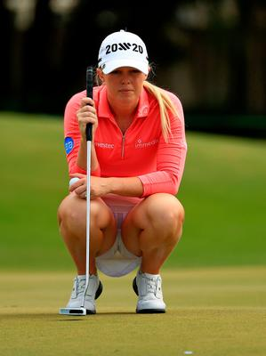Flying high: Stephanie Meadow lines up a putt on her way to a third-place finish in Florida