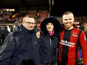 All smiles: Ross Clarke with girlfriend Rachel and dad Martin