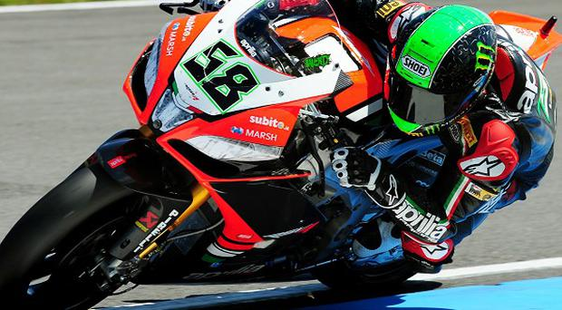 Eugene Laverty, pictured, is joined on the front row by Carlos Checa and Jonathan Rea