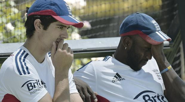 Time to think: England captain Alistair Cook and Michael Carberry take a break
