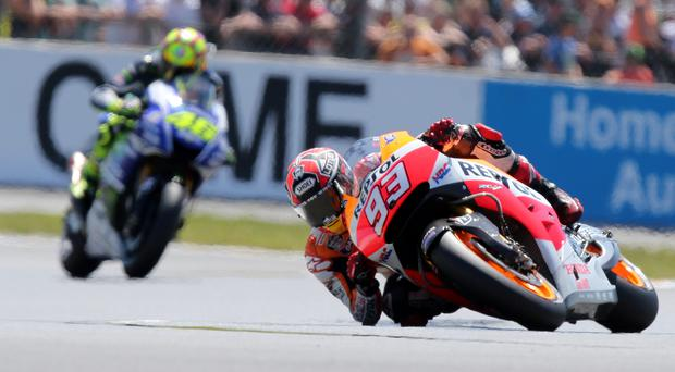 Unbeaten: Marc Marquez sealed his fifth victory in a row yesterday