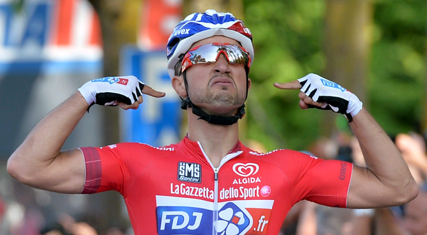 Joy: Nacer Bouhanni is thrilled with his third stage win
