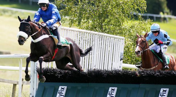 Going clear: Smiler on his way to winning the Celebrating Father's Day Maiden Hurdle yesterday at Downpatrick